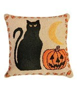 Black Cat & Pumpkin Decorative Pillow - £61.94 GBP
