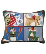 Puppy Stockings 16 X 20 Hooked Pillow - $60.00