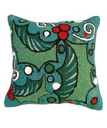 Holly with Blue Field Decorative Pillow - $80.00
