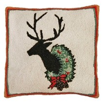 Deer with Wreath 18 x 18 Hand Hooked Pillow - ₨4,331.51 INR