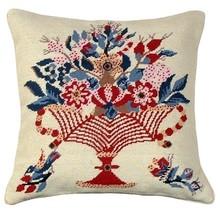 Red Vase Blue Bird Decorative Pillow - $140.00