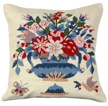 Blue Vase Butterfly Decorative Pillow - $140.00