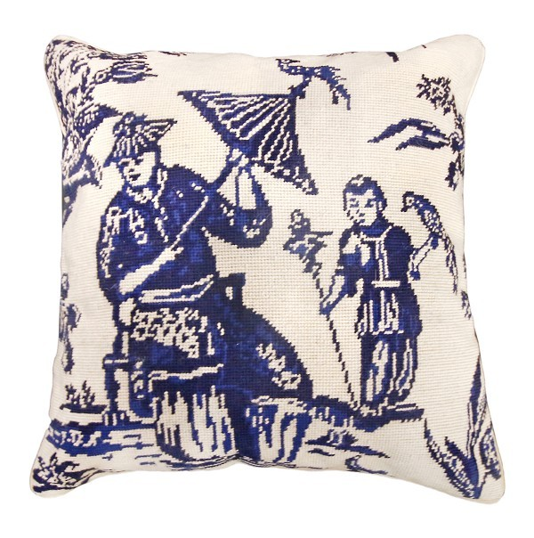 Primary image for Boy with Bird - Blue 18x18 Needlepoint Pillow