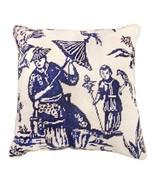 Boy with Bird - Blue 18x18 Needlepoint Pillow - $140.00