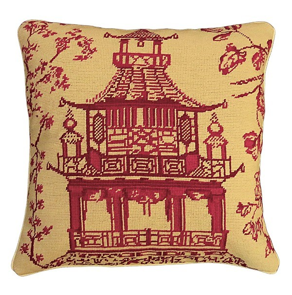 Red Pagoda 18x18 Needlepoint Pillow