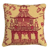 Red Pagoda 18x18 Needlepoint Pillow - $140.00