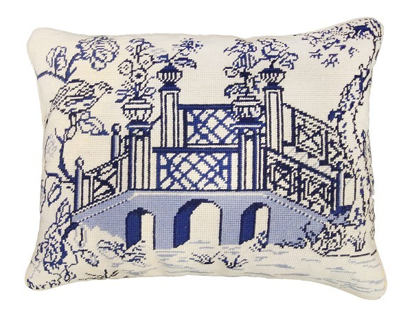 Blue Bridge 16x20 Needlepoint Pillow
