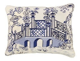 Blue Bridge 16x20 Needlepoint Pillow - ₨9,635.76 INR