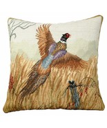 Pheasant in Flight 18x18 Needlepoint Pillow - $140.00