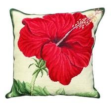 China Rose 18X18 Needlepoint Cushion Pillow - $140.00