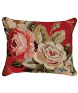 Diagonal Flowers 16X20 Needlepoint Pillow - $140.00