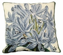Agapanthus 18 x 18 Needlepoint Pillow - $140.00