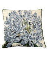 Agapanthus 18 x 18 Needlepoint Pillow - £106.26 GBP