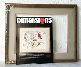 "Vintage Dimensions Misty Morning Cardinal in Tree Crewel Kit+Mat & Frame 20""x16"" - $52.20"