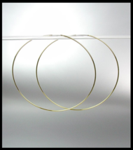 """CHIC Lightweight Thin Gold Continuous INFINITY 2 1/4"""" Diameter Hoop Earr... - $14.99"""