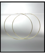"""CHIC Lightweight Thin Gold Continuous INFINITY 2 1/4"""" Diameter Hoop Earr... - £11.50 GBP"""