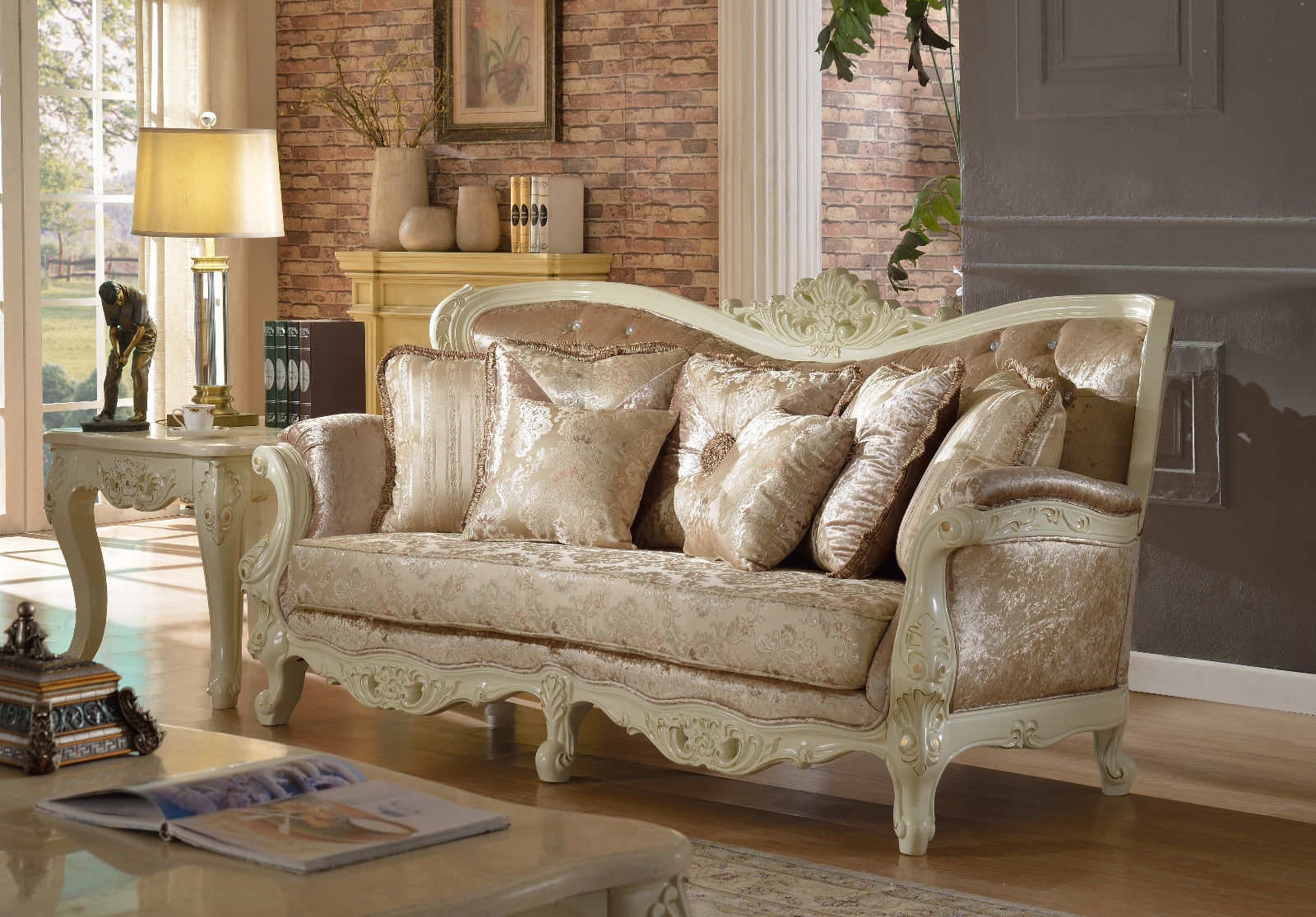Meridian 687 Living Room Sofa Set 2pc. Tufted Pearl White Chic Traditional Style