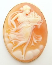 14K Gold Oval Genuine Natural Shell Cameo Pin with Woman and Basket (#J2... - $295.00