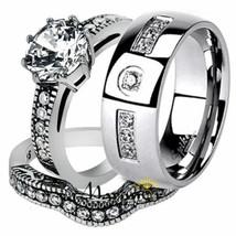His & Her Stainless Steel Vintage Bridal Ring Set & Men's Zirconia Weddi... - $25.09
