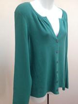 Ann Taylor Loft L Cardigan Green Split V Neck Sweater Long Sleeve Rayon Stretch - $19.58