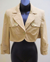 Ann Taylor Loft 6 Cropped Fashion Jacket Khaki Beige Stretch Button Flaps - $19.58