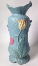 "Weller Art Pottery Mi Flo Vase Blue w Tulips 12.75"" - $188.04"
