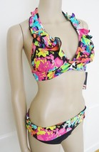 Nwt  Kenneth Cole Reaction 2 PC Halter Ruffled Bikini Swimsuit Sz S Smal... - $44.50
