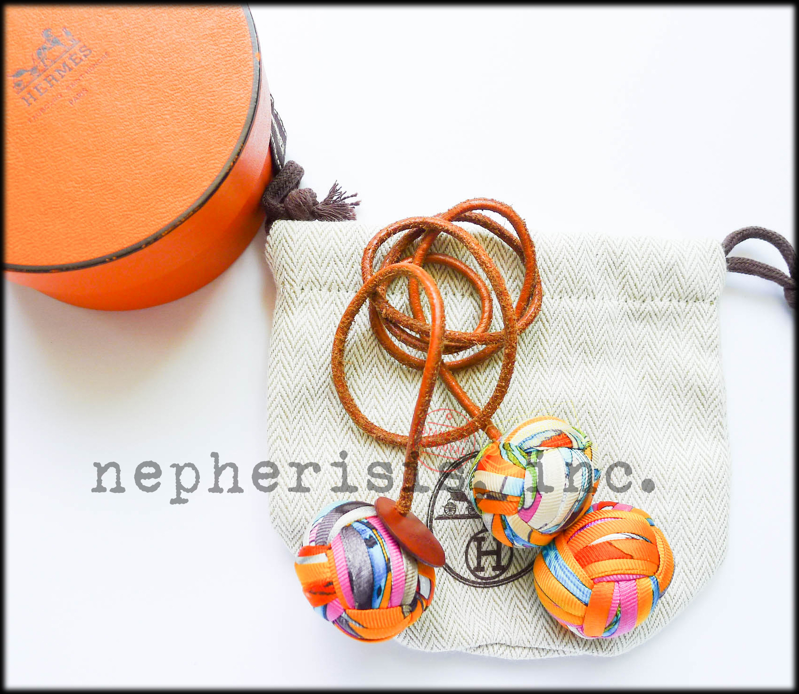 Hermes Baby Gifts Uk : Rare hermes silk pompom pom bag charm with box dust