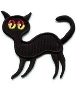 Black cat kitten kitty retro creepy boho Halloween applique iron-on patc... - £1.47 GBP