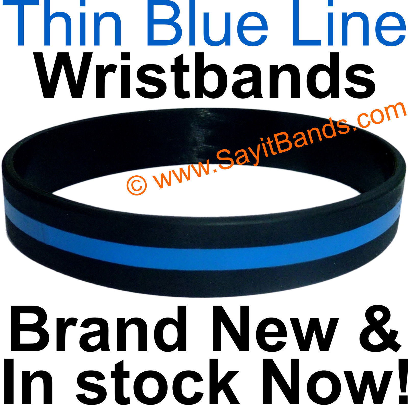 Primary image for 10 Thin Blue Line Wristband Bracelets Police Officers Patrol Awareness Support
