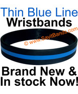 10 Thin Blue Line Wristband Bracelets Police Officers Patrol Awareness S... - $12.88