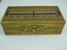 Vintage 1960's Gold Ornate Tissue Box Cover Holder Ornate Hollywood Regency - $29.65