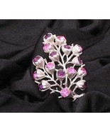 Sarah Coventry Pink Purple Crystal Tree Branch Floral Silvertone Pin Vin... - $27.93