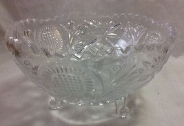 Vintage Footed Crystal Fruit Bowl With Decorative Pears - $16.95