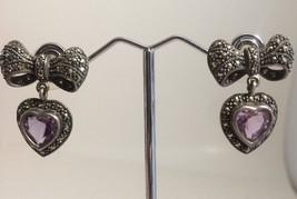 Vintage Sterling Marcasite Amethyst Bow Heart Dangle Earrings Marked A 925 - $43.48