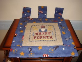 4th Of July Completed Happy Fourth Cross Stitch Banner - $24.99