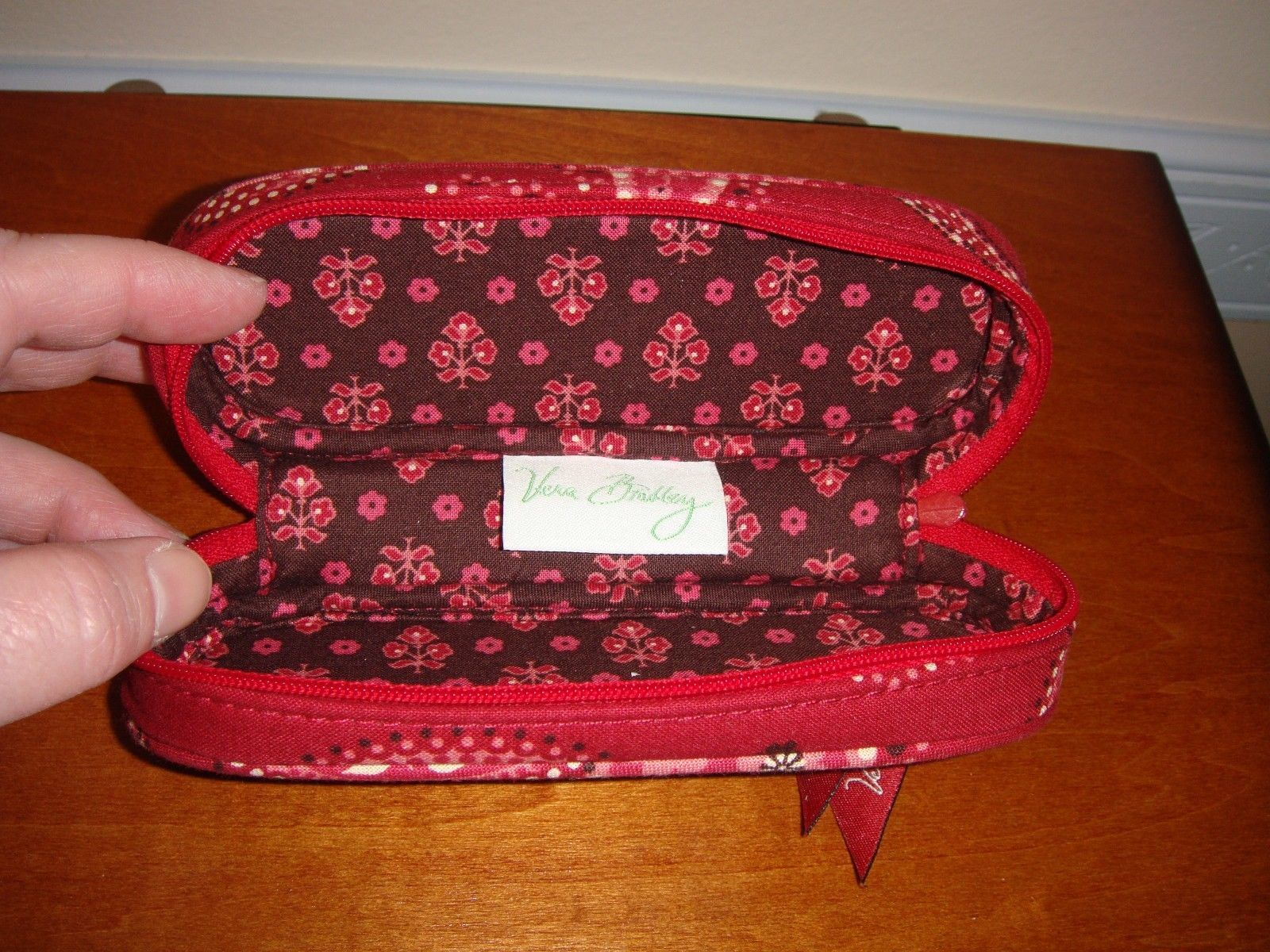 Vera Bradley Mesa Red Zip Eyeglass Case