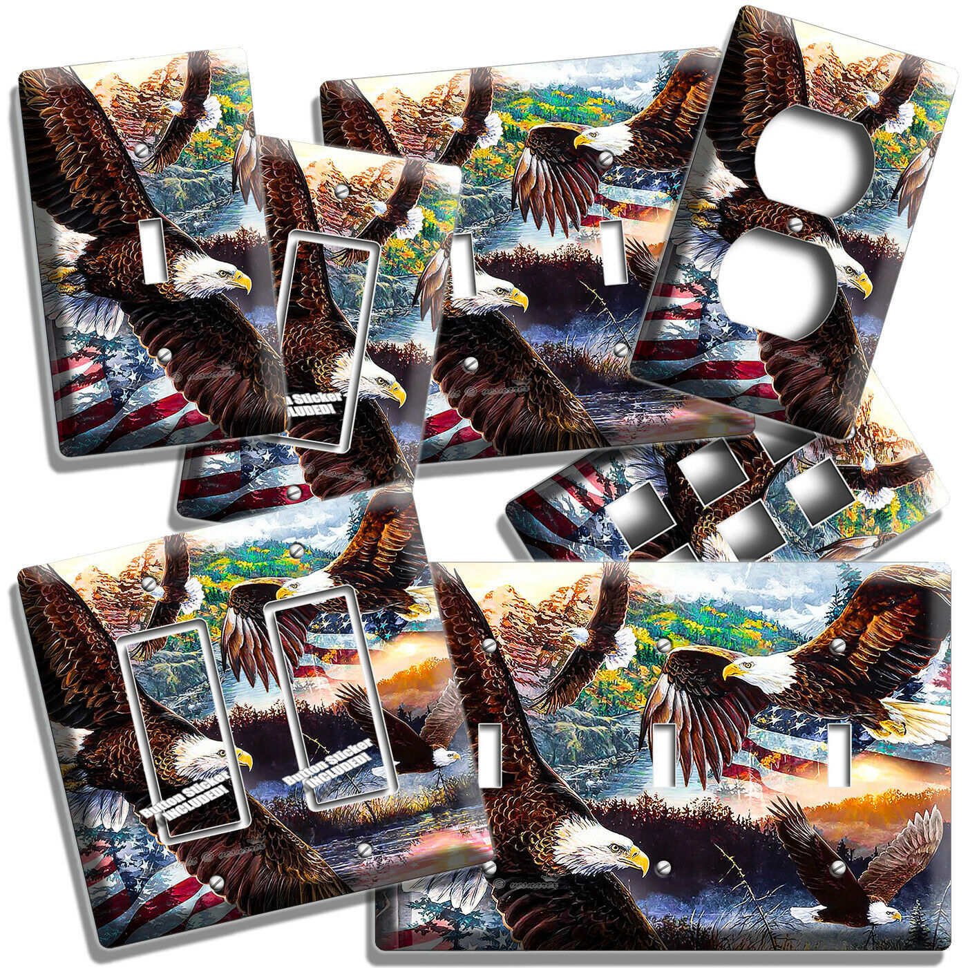 Primary image for BALD EAGLES USA FLAG LIGHT SWITCH OUTLET COVER WALL PLATES ROOM PATRIOTIC DECOR