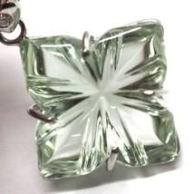 Drop Earrings in 18k White Gold, Diamonds, Prasiolite, Hearts, Flowers image 2