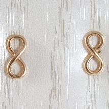 Yellow Gold Earrings, Pink or White 750 18k,Infinity Symbol, Length 1.0 Cm image 4