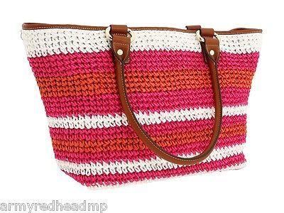 DKNY Pink Orange Straw Brown Leather Large Resort Beach Shopper Tote NWT