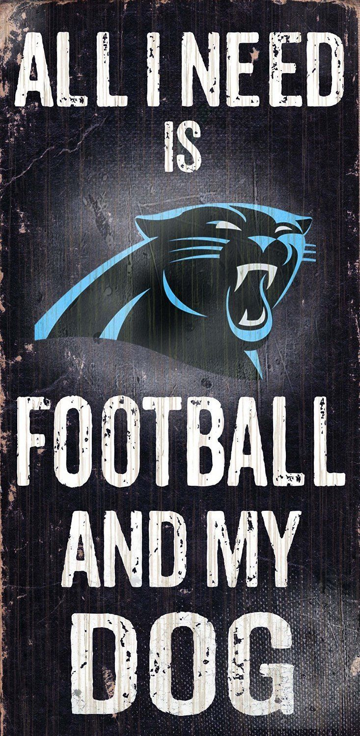 "CAROLINA PANTHERS FOOTBALL & my DOG WOOD SIGN & ROPE 12"" X 6""  NFL MAN CAVE!"