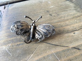 Vintage Victorian Sterling Silver Filigree Butterfly Brooch - $98.99
