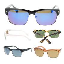 Mens Diamond Stud Half Horn Rim Narrow Rectangular Hipster Sunglasses New - $7.95