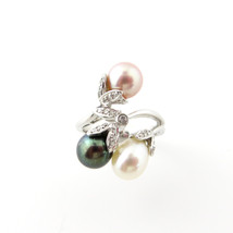 Genuine Multi Color Pearl,14K White Gold with D... - $750.00