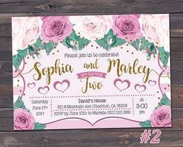 Joint Birthday Invitation / Sibling Birthday Invitation / Floral Birthda... - $10.99