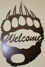 """Bear Track Welcome Sign Metal Wall Art Home Decor 13.5"""" x 20"""" Copper Vein - $45.50"""