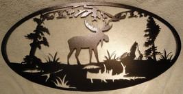 Moose and Mountains Oval Scene Metal Wall Art - $45.00