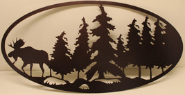 Moose and Forest Oval Scene Metal Wall Art - $45.00