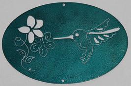 Hummingbird Oval Scene Metal Wall Art Home Decor Candy Teal - $25.00